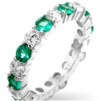 Elizabeth Emerald Green Eternity Stackable Ring | 4ct | Cubic Zirconia | Sterling Silver
