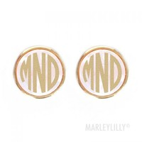 Monogrammed Preppy Stud Earrings | Marley Lilly