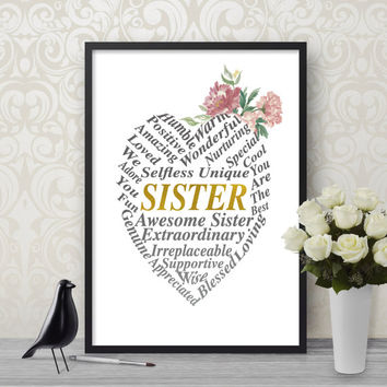 Word Cloud, Sister Printable, Printable Art, Digital Download