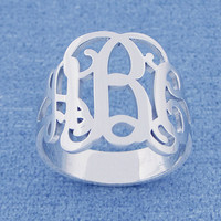 Personalized Sterling Silver 3 Initial Monogram Ring Custom Made Fine Jewelry SR31