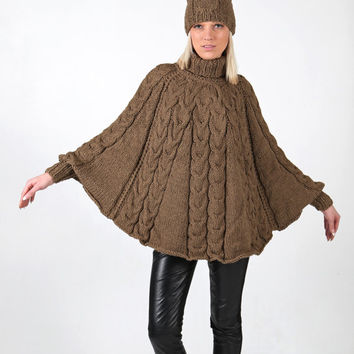 PDF pattern. Hand knitted poncho with cuffs and hat. Digital pattern from Ilze Of Norway.