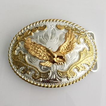 Oval Lace gold Eagle Western belt buckle