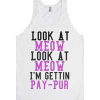 Look At Meow (Purple)-Unisex White Tank