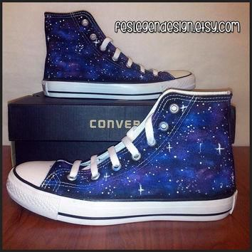 galaxy painted shoes custom converse