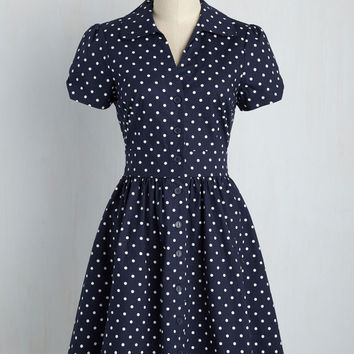 Summer School Cool Dress in Navy Dots | Mod Retro Vintage Dresses | ModCloth.com