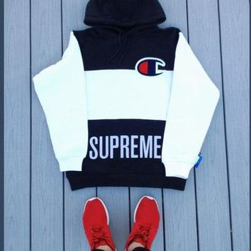 Supreme X Champion Trending Women Men Fashion Casual Edgy Loose Embroidery Hooded Top Sweater Pullover F