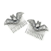Gothic Hair Combs with Sterling Silver Plated Bats - Batty Hair Combs - Set of 2 - SPOOKY Hair Glam - By Ghostlove