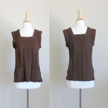 1960s Brown Knit Ribbed Sweater Vest by Tarni // Medium