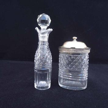 Vintage Glass Mustard Pot with Sterling Silver Lid and Oil/Vinegar Jug, Glass and Sterling Silver Cruet Set