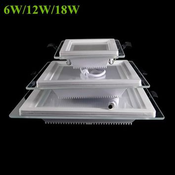 6W 12W 18W Dimmable LED panel light square glass led downlights ceiling recessed lights Episar SMD5730 chip lamps AC85-265V