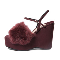 Fur Strap Wedge Sandals | STYLENANDA