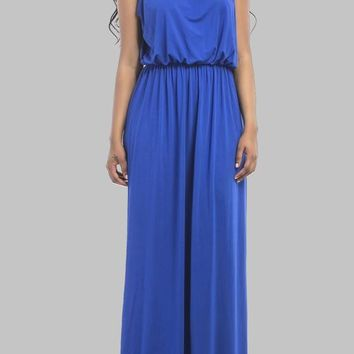 Royal Blue Halter Neck Tie Back Sleeveless Draped Plus Size Elegant Bridesmaid Maxi Dress