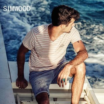 SIMWOOD 2017 T Shirt Men Summer Striped 100% Pure Cotton Print Breton Top Slim  Fit Curl Hem Brand Clothing Plus Size TD017086