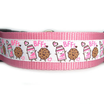 Milk and Cookies BFF  Dog Collar, 1.5 inch wide, 4 sizes, white, pink, friends, buddies, sweet, girly