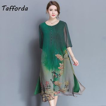 Tafforda M-4XL Plus Size New Spring Summer Silk Dress Chinese Style Dress Loose Print Party WomenDress Female