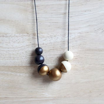handpainted wooden geometric necklace // simple dark brown, bronze gold, creme necklace - minimalist and eco-friendly everyday jewelry