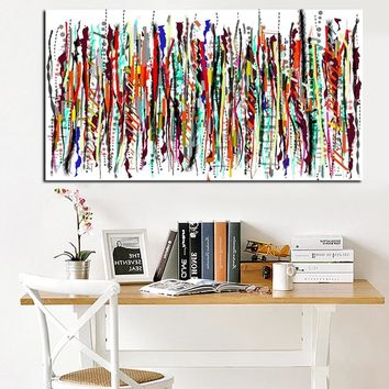 HD Print Artistic Colorful Graffiti Abstract Oil Painting on Canvas Modern Sofa Wall Art Picture for Living Room Cuadros Decor