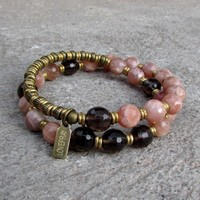 Joy and Positivity, Genuine Faceted Sunstone and Smokey Quartz 27 Bead Wrap Mala Bracelet