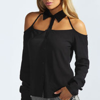 Penny Cut Out Neck Detail Shirt