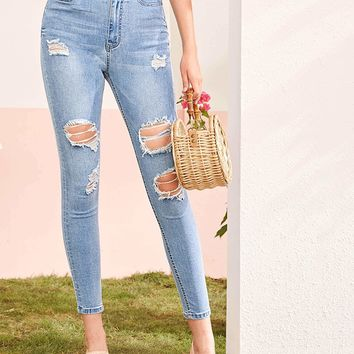 Bleach Wash Ripped Skinny Crop Jeans