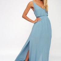 Lost in Paradise Slate Blue Maxi Dress