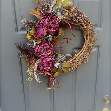 Peony Wreath Purple Spring Door Wreaths Purple Blue Feathers Purple Decor