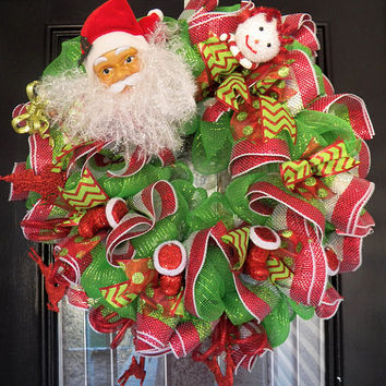 Red and Green Christmas Wreath, Deco Mesh Christmas Wreath, Christmas Decoration, Ready To Ship