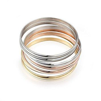 Carffany Womens Set Of 7 Bracelet Bangle Jewelry High Polished Stainless Steel Tri Color Rose Gold Silver Gold 85Inches