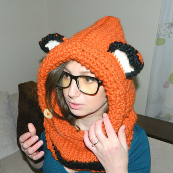 Knit Cowl FOX, Animal Hat with ears, Fox Hoodie Fox Hood Fox Knit Fox Hooded Cowl Knitted Fox Hood Fox Hoodie Knitted Kids Adult Girl Boy