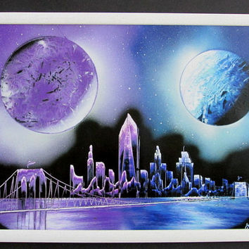 blue new york framed artwork,space room decor,galaxy painting,space poster,astronomy gift,new york skyline,new york gift,gift for him art