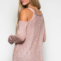 Cold Shoulder Sweater - Dusty Rose
