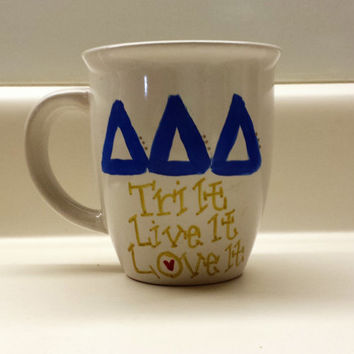 Tri Delta Sorority Hand Painted 14 oz Mug
