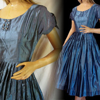 "Vintage 50s Party Dress Blue With Rhinestone Buttons Swing Dance Fit and Flare Sz M ""KAY JUNIORS"""