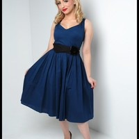 First Class Dress with Velvet Flower Belt in Blue | Pinup Girl Clothing