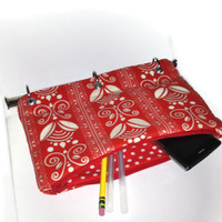 Binder Pencil Case Red Floral Organizer Pouch for 3 Ring Binder  Back to School  Ready to Ship School Supplies Kids Gift Red and White