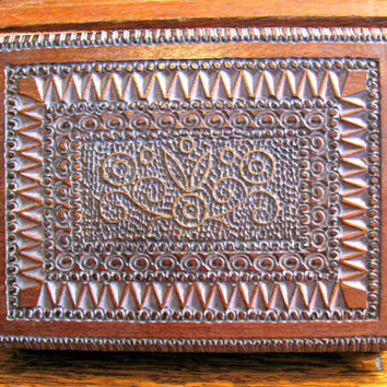 Carved Wood Box, Piatnik Vienna Playing Cards, Two Sealed Decks, Case Marked Made in Poland, Gold Seal Christrup Odense