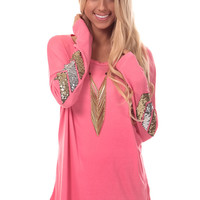 Pink Knit Top with Sequin Elbow Detail
