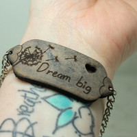 Dream big Mantra bracelet blue grey leather