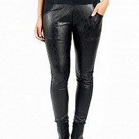 9905-10-4 Faux-Leather Leggings Apparel Leggings BLACK Bare Feet Shoes
