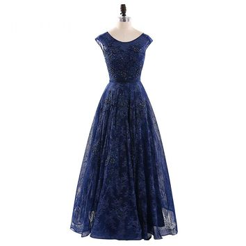 A Line Scoop Cap Sleeve Long Formal Evening Dress Floor Length Evening Dresses Party Gowns