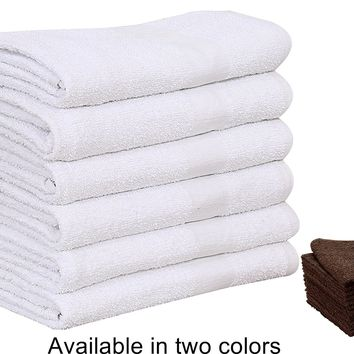 12 PCS NEW WHITE 20X40 100% COTTON ECONOMY HAIR TOWELS 4lb
