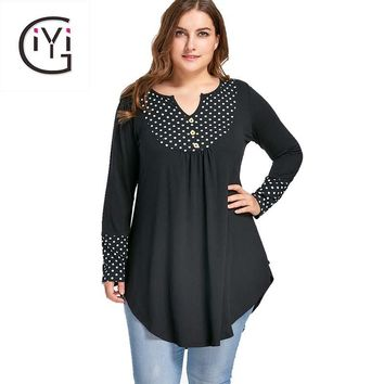 GIYI Plus Size 5XL Vintage Polka Dot Patchwork Tunic Asymmetrical Top Autumn 2017 Long Sleeve Loose Blouse Shirt Women Clothes
