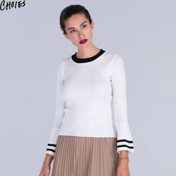 Women Knitwear White Long Flare Sleeve Black Knitted Fitted Layering T-shirt Tee Top Autumn Winter