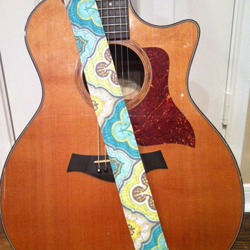 Guitar Strap - Handmade - Aqua, Yellow, Green