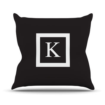 "KESS Original ""Monogram Solid Black"" Outdoor Throw Pillow"