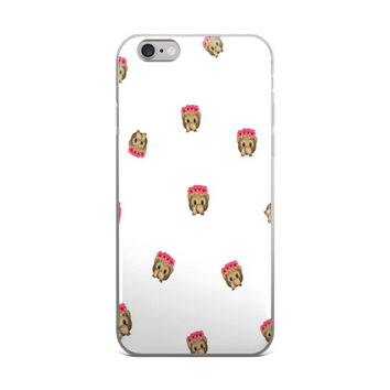 Flower Crown Monkey Emoji Collage Teen Cute Girly Girls White iPhone 4 4s 5 5s 5C 6 6s 6 Plus 6s Plus 7 & 7 Plus Case
