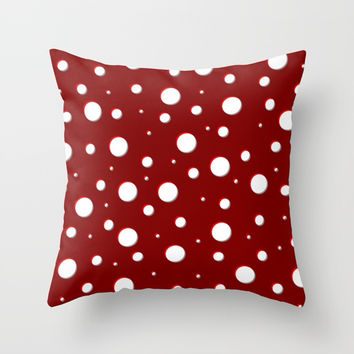 Red mushroom pattern, asymetric shadowed polka dots, mixed circles size, vintage themed, classic Throw Pillow by Casemiro Arts - Peter Reiss