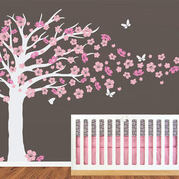 Wall Decal - Cherry Blossom Tree with Butterfly Decal - Nursery Chidren Wall Vinyl