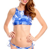 BLUE MULTI PRINT SCOOP NECKLINE LO WAIST BOTTOMS TIED ACCENTS CASUAL TWO PIECE SWIMSUIT