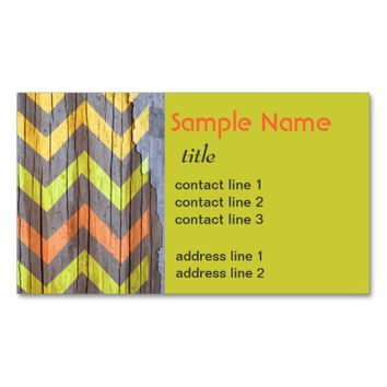 colorful business card template chevron pattern